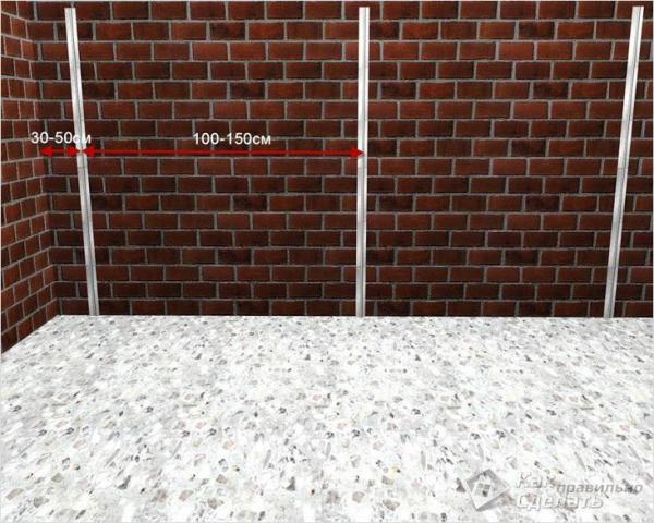 Как установить маяки на стену - монтаж маяков на поверхность стен